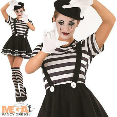 Mime Artiste Ladies Fancy Dress Ladies French Circus - Mime Artist Fancy Dress Kostüm