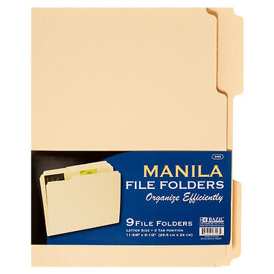 9/PK Manila File Folders Letter Size Three Tab Positions 11-5/8