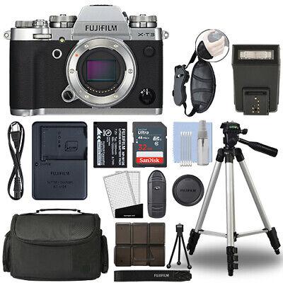 Fujifilm X-T3 Mirrorless 26.1MP 4K Fuji X T3 Digital Camera Silver + 32GB Bundle