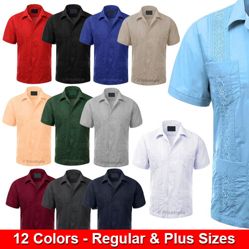 Guayabera Short Sleeve Mens Cuban Shirt Wedding Cigar Beach