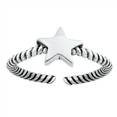 Star Design Toe Ring Face Height: 7 mm Sterling Silver 925 USA Seller