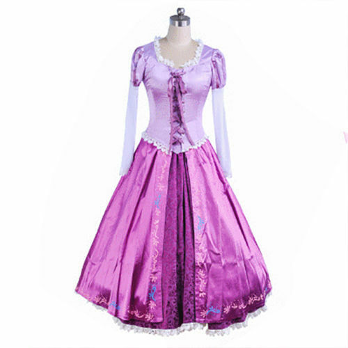 US!Deluxe Adult Women's Tangled Rapunzel Princess Costumes Back Laced-up Strap