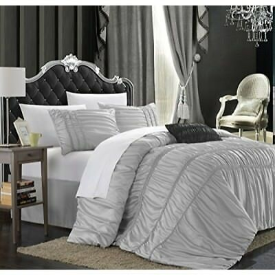 Chic Home Romantica 5-Piece Comforter Set, King, Silver