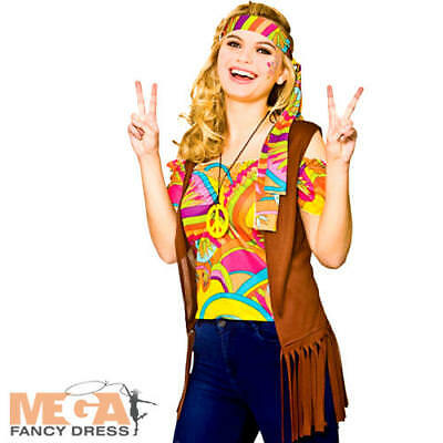 Cool Costums (Cool Hippie Kit Ladies Fancy Dress Hippy 60s 70s Adults Womens Costume Set Acc)