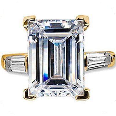 GIA cert. 2.40 ct Emerald cut Diamond 14K Yellow Gold Ring w/ 2 baguette, I VS2