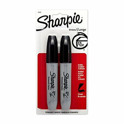 Sharpie Chisel Tip Permanent Markers 2 Black Markers. Sanford Model 38262