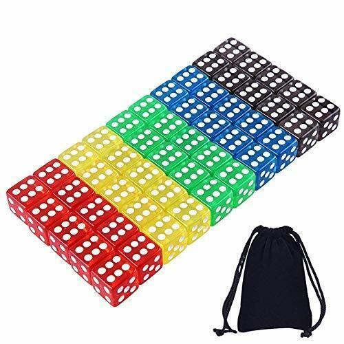 50 Pieces Game Dice Set 5 Translucent Colors Square Corner Dice with Free Pouch