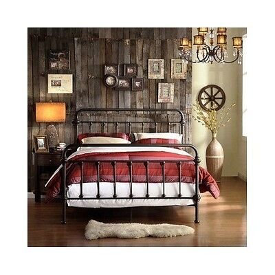 Queen Size Bed Vintage Antique Iron Victorian Metal Headboard Footboard Frame