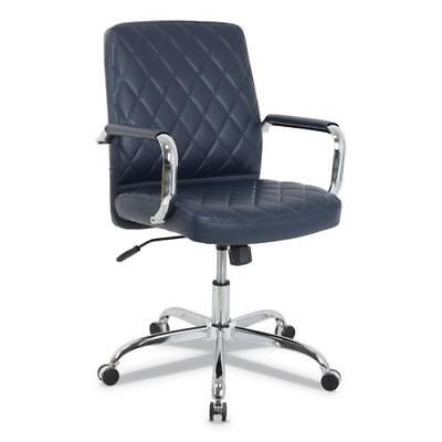 - Mid-Back Diamond-Embossed Leather Office Chair, Navy Blue Seat, 275lb Capacity