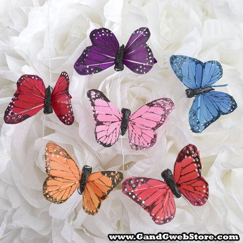 "2.75"" Artificial Decorative Assorted Multi Feather Butterflies - 12pcs Butterfly"