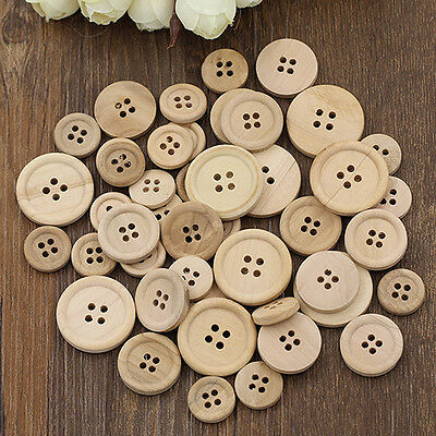 50 Pcs Mixed Wooden Buttons Natural Color Round 4 Holes Sewing Scrapbooking Diy