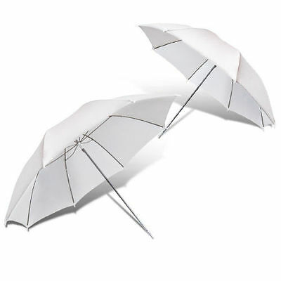 "2x White 33"" Photography Light Photo Studio Video Translucent diffuser Umbrella"