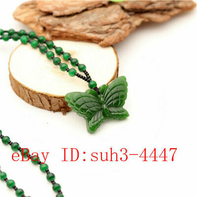 Green Jade Butterfly Pendant Beads Necklace Charm Jewellery Fashion Amulet Gifts (Green Jade Butterfly Pendant)