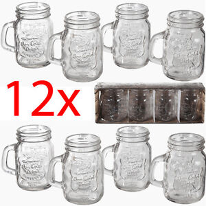 SET OF 12 MASON JAM JAR SHOT GLASS BREAKFAST JUICE WATER TUMBLER GLASSES PARTY