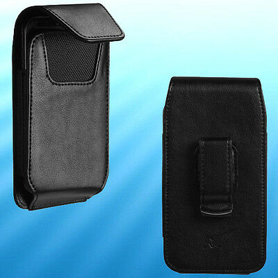 Mobile Phone Holster - Black Leather Mobile Phone Holder Cover Case Pouch Swivel Belt Clip Holster