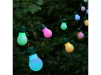 Firefly Solar Power Globe Strings 20 Garden Party Lights Colour LED Lights 5.8m