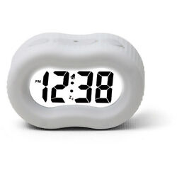 TimeLink Digital Alarm Clock with Large Numbers & Rubberized Case New White