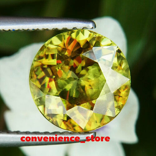 UNHEATED 2.77 CT NATURAL ROUND YELLOWISH GREEN SPHENE