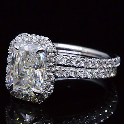 1.84 Ct. Natural Radiant Cut Halo Pave Diamond Engagement Wedding Ring Set GIA