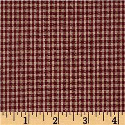 "100% Cotton Fabric BTY 45"" Americana Prim Homespun Mini-Check Barn Red Burgundy"