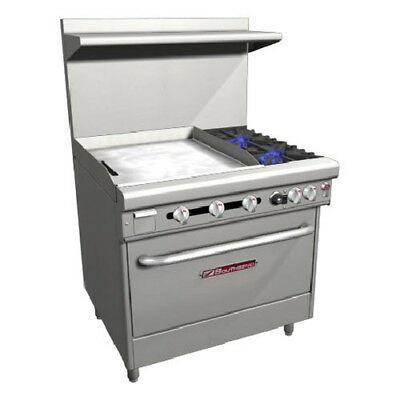 "Southbend H4361D-2GL 36"" Ultimate Gas/Electric Range 24"" Left Griddle 1 Rack"