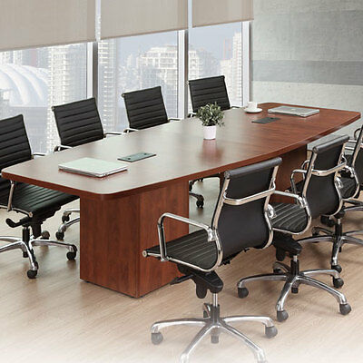 Conference Room Table Bases (MODERN CONFERENCE ROOM TABLE Boatshape w Cube Base Power Modules 8ft - 24ft Foot )