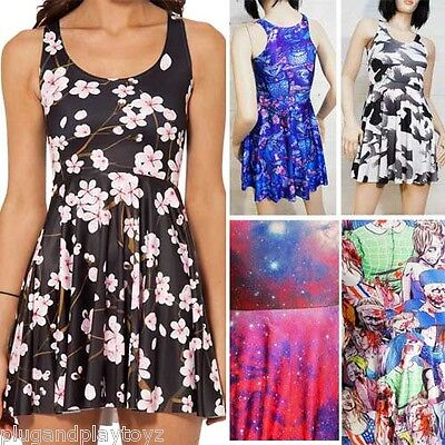 Skater Dress Digital Print Galaxy Zombie Floral Razor Back Stretchy Colorful M-L (Zombie Dress)