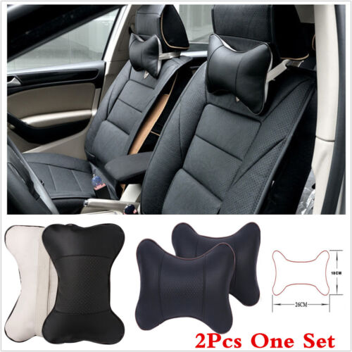 2× Universal PU Leather Car Seat Headrest Neck Pillow Soft Decompress Breathable
