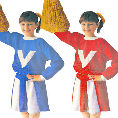 CHEERLEADER Red or Blue HALLOWEEN COSTUME SET (2pc) ~ Party Supplies Girl Child - Cheerleader Supplies