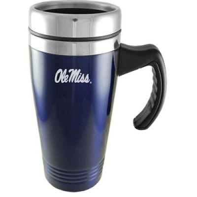 """Mississippi """"Ole Miss"""" Rebels Engraved 16oz Stainless Steel Travel Mug - Blue"""