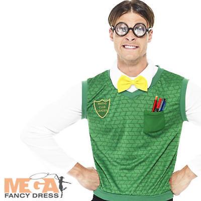 Geek Nerd Boy Mens Fancy Dress School Uniform Adult Stag Party Costume + Glasses ()