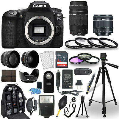 Canon EOS 90D DSLR Camera + 18-55mm STM + 75-300mm + 30 Piece Accessory Bundle for sale  Shipping to India