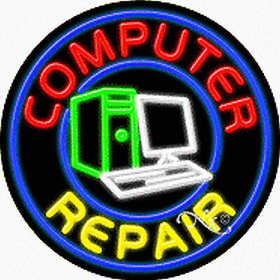 Brand New Computer Repair 26x26x3 Real Neon Sign Wcustom Options 11316