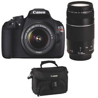CANON EOS REBEL T5 18MP DSLR CAMERA + 18-55MM II + 75-300MM III