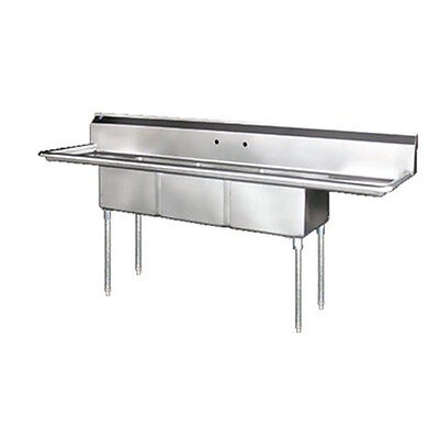 Stainless Steel 90 X 24 3 Three Compartment Sink W 2 Drainboards Nsf 18x18x14