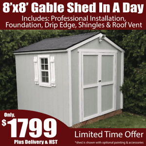 8'x8' Gable Shed In A Day Bundle Special – Includes Installation