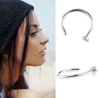 Surgical Stainless Steel Plain Silver Open Nose Ring Hoop 8mm 22 Gauge