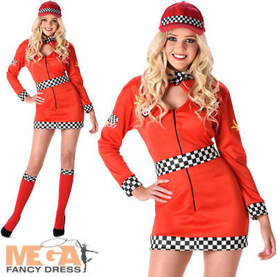 Racing Girl Ladies Fancy Dress Car Racer Sports Uniform Womens Adult Costume - Womens Racer Girl Kostüm