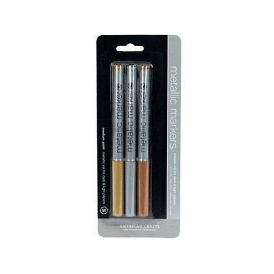American Crafts Medium Point Metallic Ink Markers - Gold, Silver, Copper ()