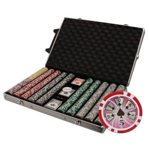1,000ct. Hi Roller 14g Poker Chip Set in Rolling Aluminum Metal Carry Case