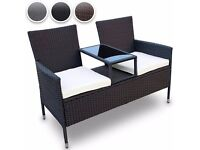Black rattan glass top table 2 seater garden bench BRAND NEW Already assembled!