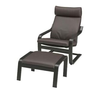 Leather Ikea Poang Chair and Ottoman