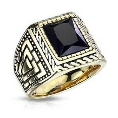 Stainless Steel Faceted Square Onyx Stone Surrounded by Rope Gold PVD Ring