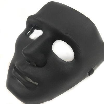 All Black Hip Hop Dancing men Mask Costume Prom Party Blank Simple Mask (All Black Mask)