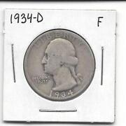 Silver Washington Quarters 1934D