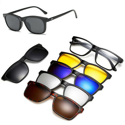Magnetische Brille  Gläser Rahmen mit 5 PC Polarisierte Sonnenbrille Clip-on