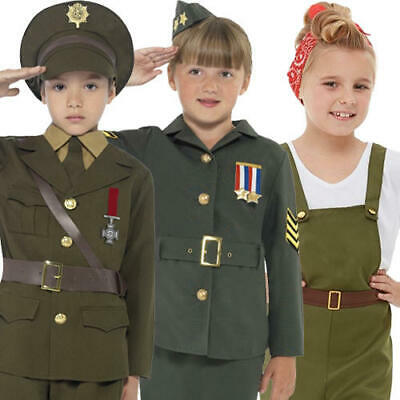 1940s Military Uniform Kids Fancy Dress WW2 Army Officer Soldier Childs Costumes