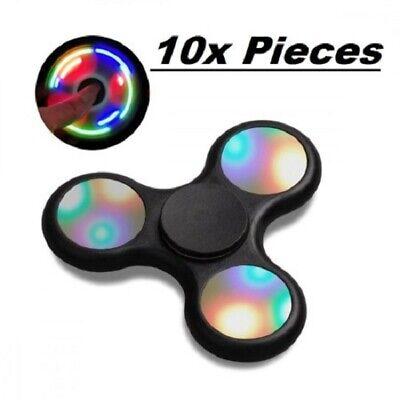 10 Pack Light Up LED Fidget Hand Spinner Toy Stress Reliever Bulk EDC ADHD