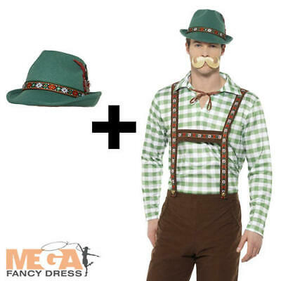 Alpine Bavarian Mens Fancy Dress German Oktoberfest Lederhosen Costume + Hat - Men's Alpine Kostüm