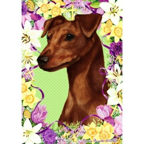 Easter House Flag - Uncropped Red Miniature Pinscher 33151